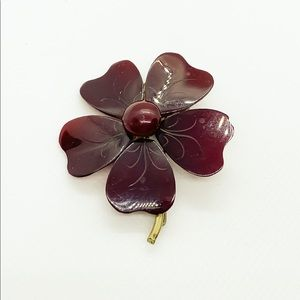 Vintage Brown Lucite Flower Brooch - Think Fall!